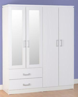 Charles White 4 Door 2 Drawer Mirrored Large Wide Wardrobe with Hanging Rails