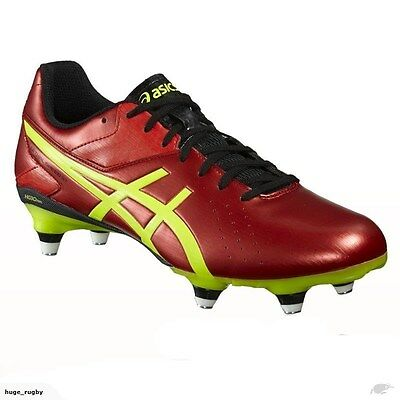 Asics Lethal Speed ST Rugby Boots Vermilion Red-Black-Safety Yellow UK sz 6-11