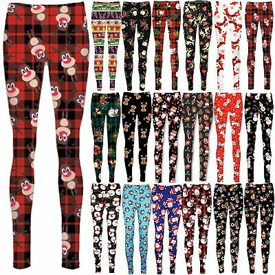 Kids Girls Reindeer Xmas Santa Wall Full Length Christmas Santa Father Leggings