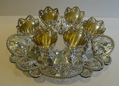 Antique English Silver Plated Set Six Egg Cups on Reticulated Tray c.1890