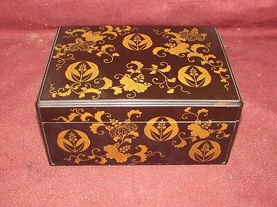 Antique Japanese Lacquer Artist Box w Inkstone Meiji Period