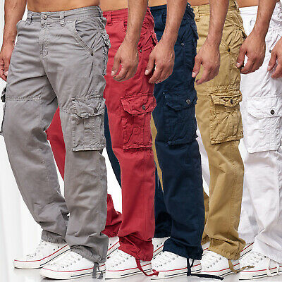 Neu Herren Cargohose Jeans Cargo Hose Loose Fit Chinohose Workwear Indy Jones