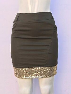 Bebe Olive Green Sequin Hem Midi Skirt (Nwot  / Sz Small)