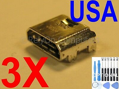 "3 X New Micro USB Charging Sync Port For Samsung Galaxy Tab 3 7/"" SM-T210L USA"