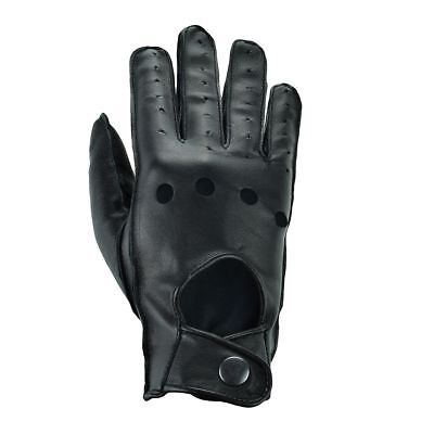 Mens Real Leather Top Quality Stripe Grip Vented Driving Gloves