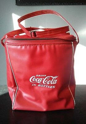 Drink Coca Cola in Bottles Soft Sided vinyl picinic Cooler Bag. Nice in & out.