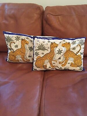 Vintage Authetic Hermes Jungle Cheetah Leopard Print Pillows 2
