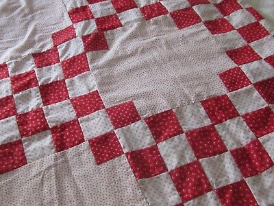 """Very Remarkable Antique Turkey Red and Shirting Irish Chain Quilt TOP 74x64"""""""