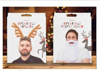 Inflatable Father Christmas Santa Beard Reindeer Antlers Party Fancy Dress Xmas