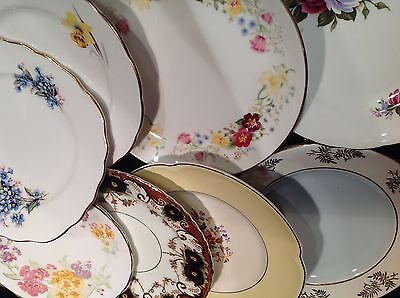 """20 china vintage tea/cake plates. Approx 6"""". Cake stands. All English."""
