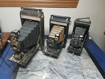 vintage kodak lot of 3. junior six-20, No-1 kodak jr, No 1-A kodak jr