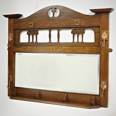 Hall Mirror - Arts & Crafts, Oak, Copper, C1900 (delivery available)