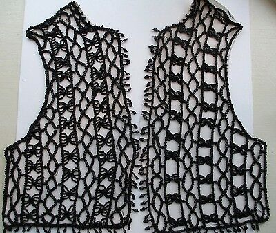 Antique Victorian Mourning French Jet Glass Beaded Bodice Vest