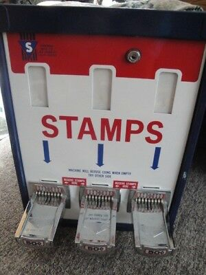 Vintage Shipman Mfg Co Postage Stamp Machine .50 cents THREE VERTICAL COIN SLOTS