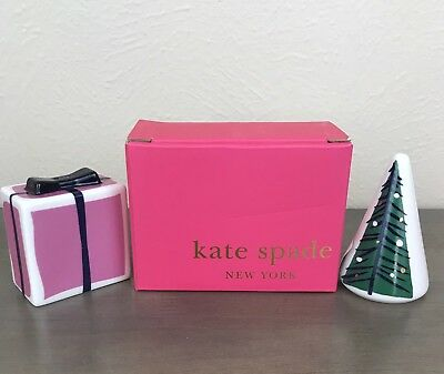"Kate Spade Arbor Village Salt and Pepper Set 1.75"" Lenox Christmas Holiday NIB"