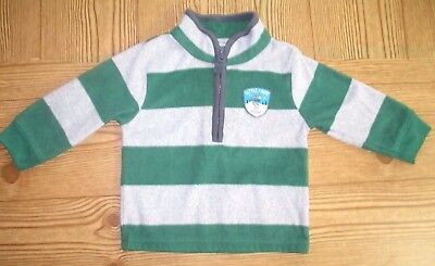 Carters Gray Green Striped Fleece Baby Boys Pull Over Jacket Size 18 Months