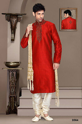 Indian Gents Wear Red Metalic Colour Wedding Kurta Payjama Pakistani Dress India