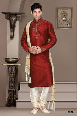 Pakistani Gents Wear Cultural Wedding Ethnic Red Colour Designer Kurta Payjama
