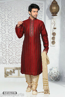 Indian Mens Traditional Maroon Color Ethnic Kurta Pajama Wedding Dress India