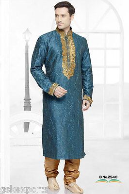 Indian Mens Wedding Designer Eid Wear Kurta Payjama Traditional Bollywood Dress
