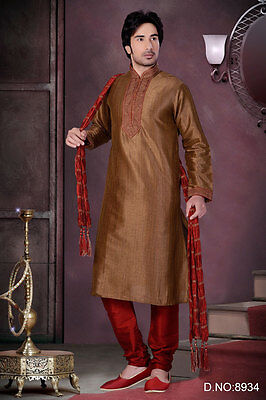 Indian Brown Pakistani Bollywood Wear Wedding Kurta Payjama Ethnic Dress India