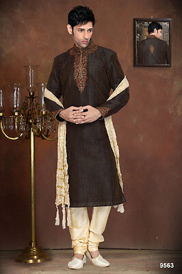 Brown Color Designer Wear Mens Traditional Cultural Bollywood Wear Kurta Payjama