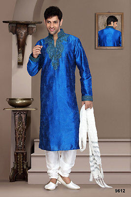 Blue Metalic Color Wedding Cultural Designer Wear Traditional Kurta Payjama