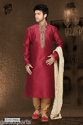 Mens Eid Wear Traditional Maroon Color Ethnic Wedding Kurta Payjama From India