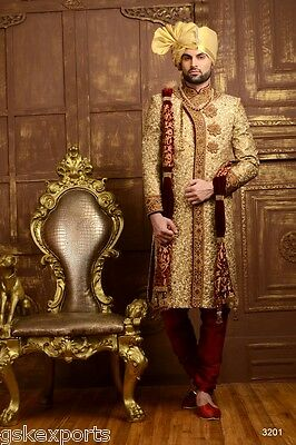 Mens Ethnic Wear Traditional Embroidered Wedding Groom Wear Sherwani From India