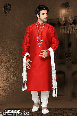 Indian Mens Wedding Cultural Ethnic Wear Sherwani Red Color Churidar Payjama