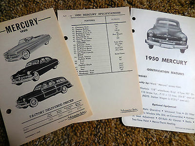 1950 Original Mercury Data Book Inserts from 2 different source brochure catalog