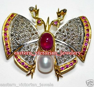 Vintage Antique 7.85Ct Rose Cut Diamond Gemstone Silver Butterfly Brooch Jewelry
