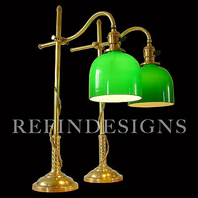 Pair Early Miller Brass Emearlite Table Lamps Industrial Machine Age 1900 Faries