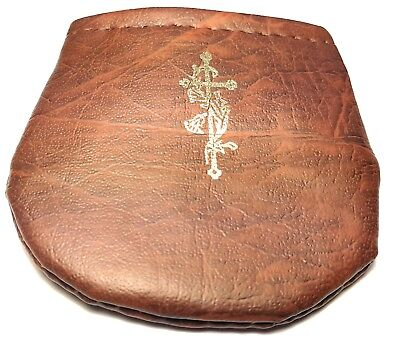 rosary carrying bag case pouch holder brown leather like material high quality