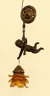 French antique 1900 Spelter putti angel Chandelier pendant amber glass shade