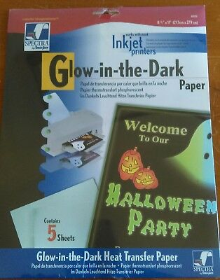 Inkjet Heat Transfer Paper-Glow In The Dark For Dark Fabrics 8.5X11 5 sheets