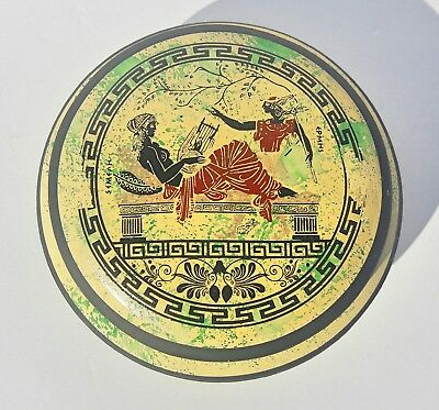 Vintage Greek Hand Made Museum Copy Pottery Featuing Semeah And Hermes Greece