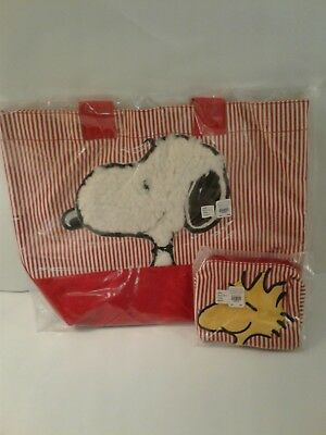 New in Bag Pottery Barn Kids Peanuts Snoopy Tote Bag and Woodstock Toiletry Bag