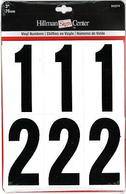 "Hillman 3"" Vinyl Numbers, Black on White Background, 842274"