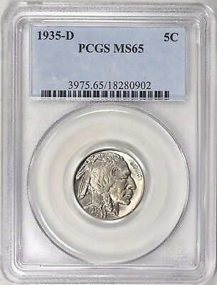 3 Coin Lot Buffalo Nickels 5C Pcgs 1935D Ms65, 1936P & 1938D/d Ms66  *free Ship*