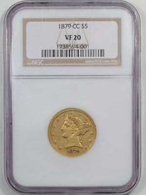 1879-Cc $5 Liberty Head Gold Ngc Vf-20