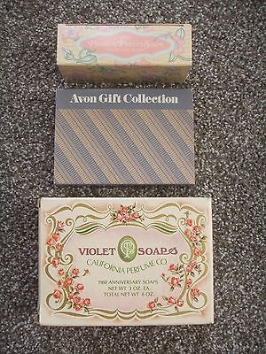 NEW 1980 Vintage Lot of 3 AVON Soaps Bar Gift Collection Set Anniversary Sachet