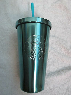 NEW STARBUCKS High Shine TEAL/GREEN STAINLESS COLD CUP Tumbler 2016