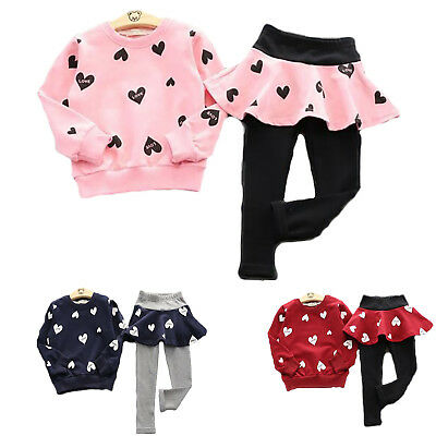 2Tlg Kinder Mädchen Sweatshirt Tops Hosenrock Leggings mit Minirock Outfits Set