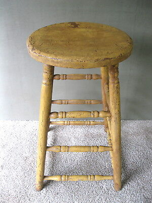"Antique Stool Original Mustard Paint, Hickory Wood, 24-1/2"" Tall 13-1/4"" Seat"