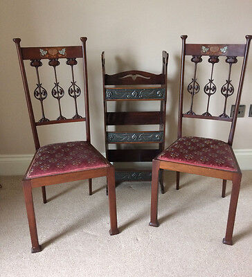 Rare Pair Of Art Nouveau Mahogany Chairs, Superb Splats And Inlay Copper Pewter