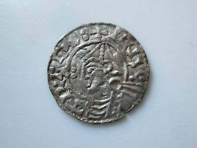 England, Anglo-Saxon silver penny, Cnut, pointed helmet type, LEOFPOL.D, London