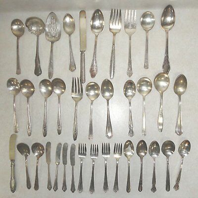 MIXED LOT of 37 Pcs of VINTAGE & ANTIQUE SILVERPLATE SILVERWARE & SERVING WARE