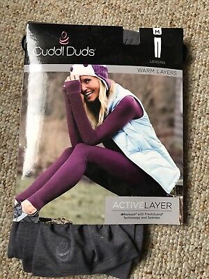 "CUDDL DUDS Women's Active Layer Leggings Pants ""GREY"" M (10-12)New Tags"