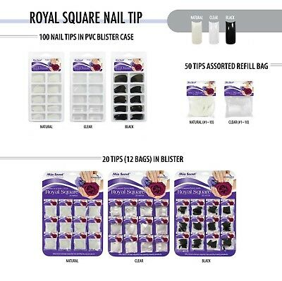 Mia Secret Assorted Square Acrylic Gel Nail Tip Clear Natural Black Set Manicure